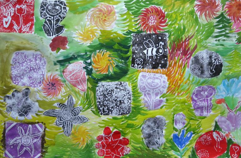 Rauman kuvataidekoulun peruskurssin 1 oppilaiden yhteinen taidegrafiikan vedos