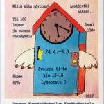 Rauman kuvataidekoulun 2017 kevätnäyttelyjuliste Aikamatka