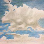 Luova piirustus Pilviä puuväreillä