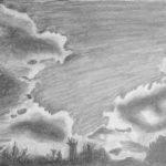 Luova piirustus Pilviä lyijykynällä