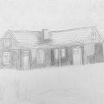Luova piirustus Rakennus talvimaisemassa