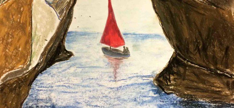 Luova piirustus Punapurjeinen vene kallioiden välissä