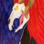 Luova piirustus Pukin pääkallo punaista ja sinistä