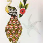 Luova piirustus Eksoottinen lintu, kukka ja meritähti