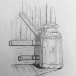 Luova piirustus Maitotonkka seinän viressä