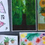 Rauman kuvataidekoulu 2018 maalauspajan luontoaiheisia töitä