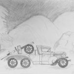 Birgitta, Hieno auto, lyijykynäpiirros