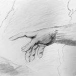 Birgitta, Jumalan käsi, lyijykynäpiirros