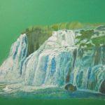 Eeva, Kesäinen vesiputous Kroatiasta, puuväreillä