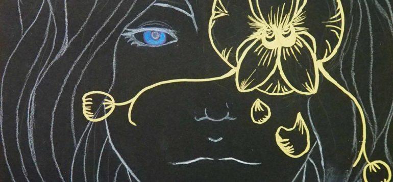 Elliot, kasvot mustalle paperille valkoisella värillä ja kultatussilla