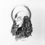 Elliot, naamioitu, mustavalkoinen piirros ja laveeraus