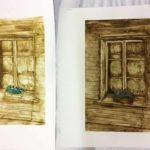 Hannan kartonkigrafiikan vedokset aiheena ikkuna