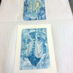 Helin Kala-aiheinen vedoslevy ja vedos taidegrafiikan prässillä