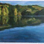 Ilona Ilmolahti, Järvimaisema akryylimaalaus 30x40cm