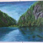 Ilona Ilmolahti, Vuoristojärvi maisema, akryylimaalaus 30x40cm