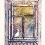 Maaritin Kissa ikkunassa kartonkigrafiikantekniikalla
