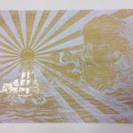 Nikolayn kartonkigrafiikan tekniikalla tehty vedoslevy aiheena Poseidon
