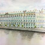 Outi, Talvipalatsi, akvarelli puuväreillä ja tussilla