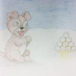 Tuija, Koiranpennun riemua lumilyhdystä, piirros puuväreillä