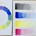 Kalligrafian värikurssi harjoituksia
