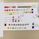 Kalligrafian värikurssi paljon harjoituksia