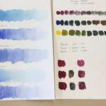 Kalligrafian värikurssi valöörit ja värin murtaminen