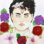 Kolmisilmäinen poika, akvarelli ja kimalle - Elliot