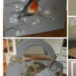 Koristemaalaus puiset kassit lintukuvioita