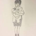 Lapsi ja nalle lyijykynäpiiros - Elliot