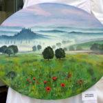 Maalaus Toscanan maisemissa