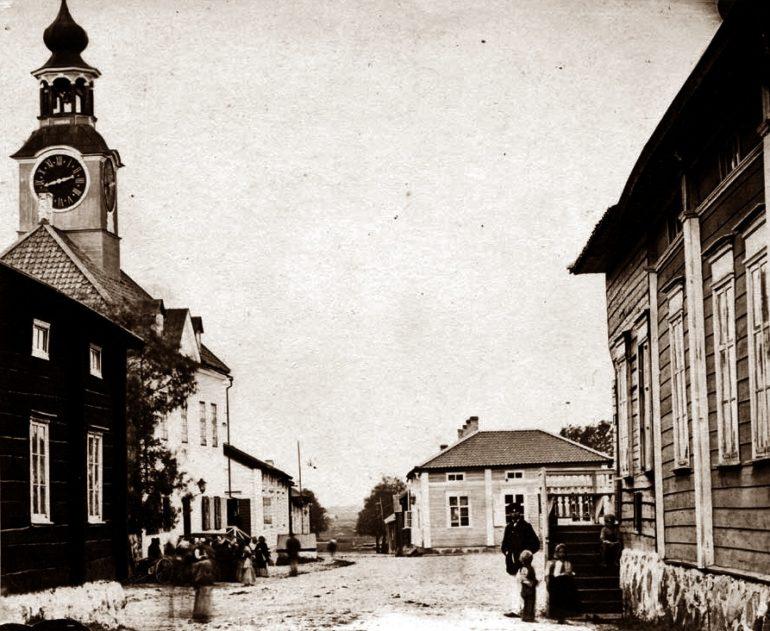 Vanha valokuva 1800-luvulta Kauppakadulta Raumalta.