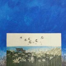 Merja Ala-Ollan teos Varattu sinulle 2017. Etsaus, akvatinta, kuivaneula, kaiverrus ja akryylimaalaus.