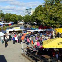 Paljon kävijöitä Rauman silakkamarkkinoilla.