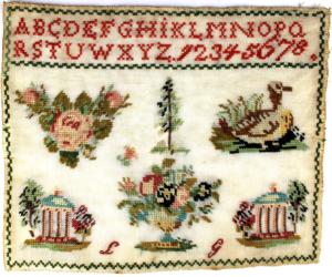 1800-luvun kirjottu merkkausliina.