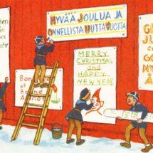 Satakunnan partiosäätiön joulukortti 1960-luvulta. Piirroskuvassa henkilöt kiinnittävät joulutervehdyksiä seinälle.