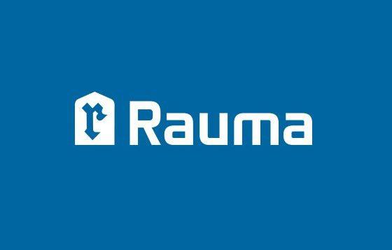 Valkoinen Rauma-logo sinisellä pohjalla