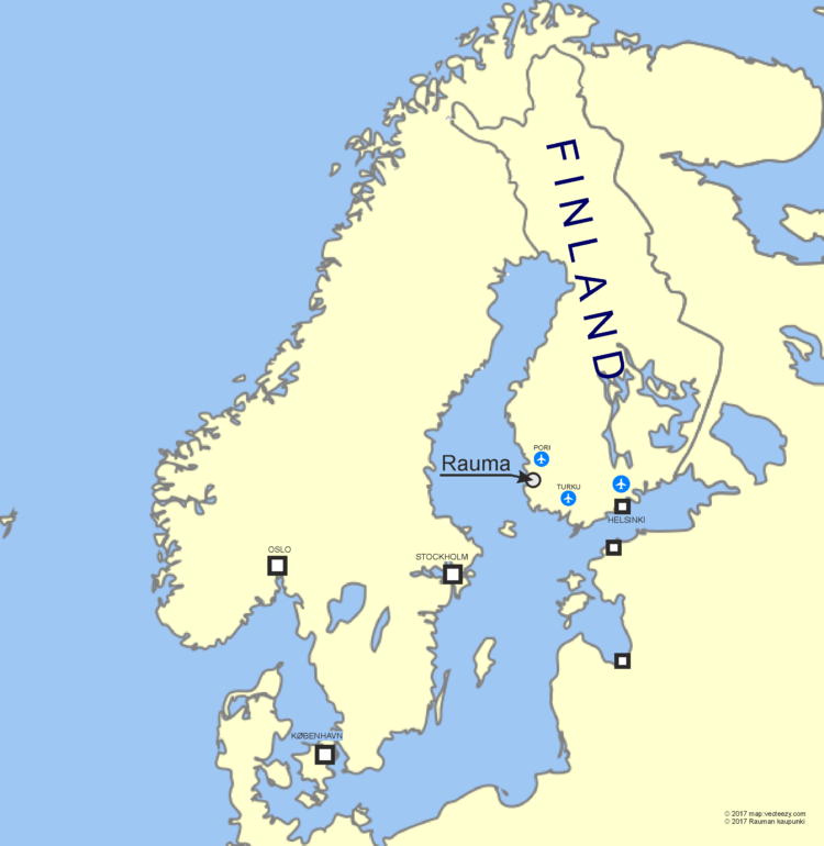 NWHC_Rauman sijainti pohjoismaiden kartalla