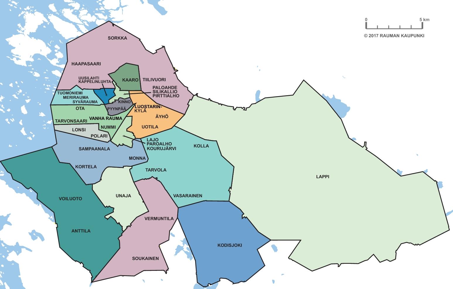 Rauman asuinalueet rajattuna eri värein kartalla.