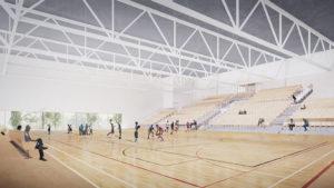 Karin kampuksen liikuntahalli, havainnekuva tammikuu 2020.