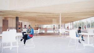 Karin kampuksen uimahalli ja kahvio, havainnekuva tammikuu 2020.