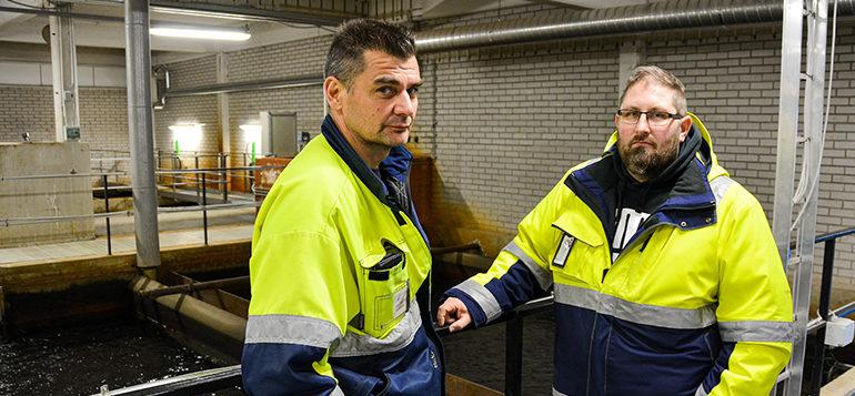 Kuvassa Rauman Veden käyttöpäällikkö ja kunnossapitomestari Samuli Loutti vesilaitoksella.