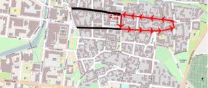 Kartta liikennejärjestelyistä kävelykatuajalle.