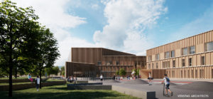 Verstas Architects -suunnittelutoimiston tekemä havainnekuva Karin kampuksen pihasta.