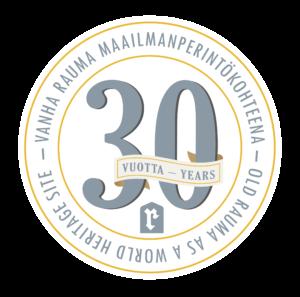 Vanha Rauma 30 vuotta maailmanperintökohteena -logo