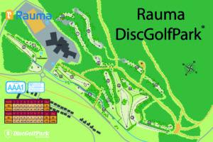 Rauma DiscGolfPark frisbeegolfkentän ratakartta
