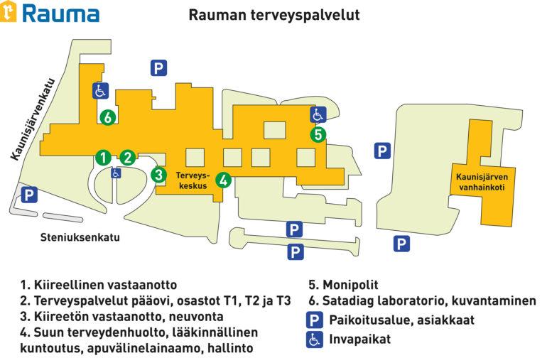 Rauman terveyspalvelujen kartta.